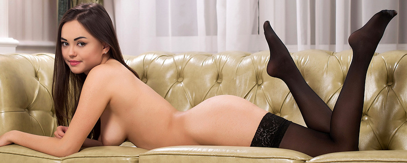 Li Moon in black stockings