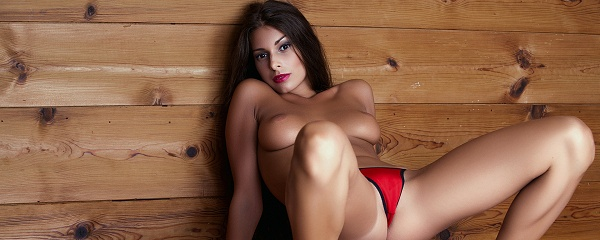 Lia Taylor in red lingerie