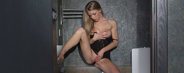Lolly Gartner in bathroom