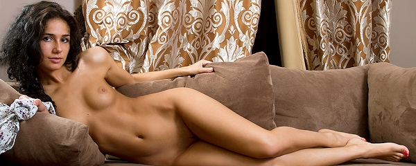 Malina strips on the couch