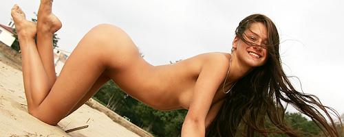 Maria having fun on the beach