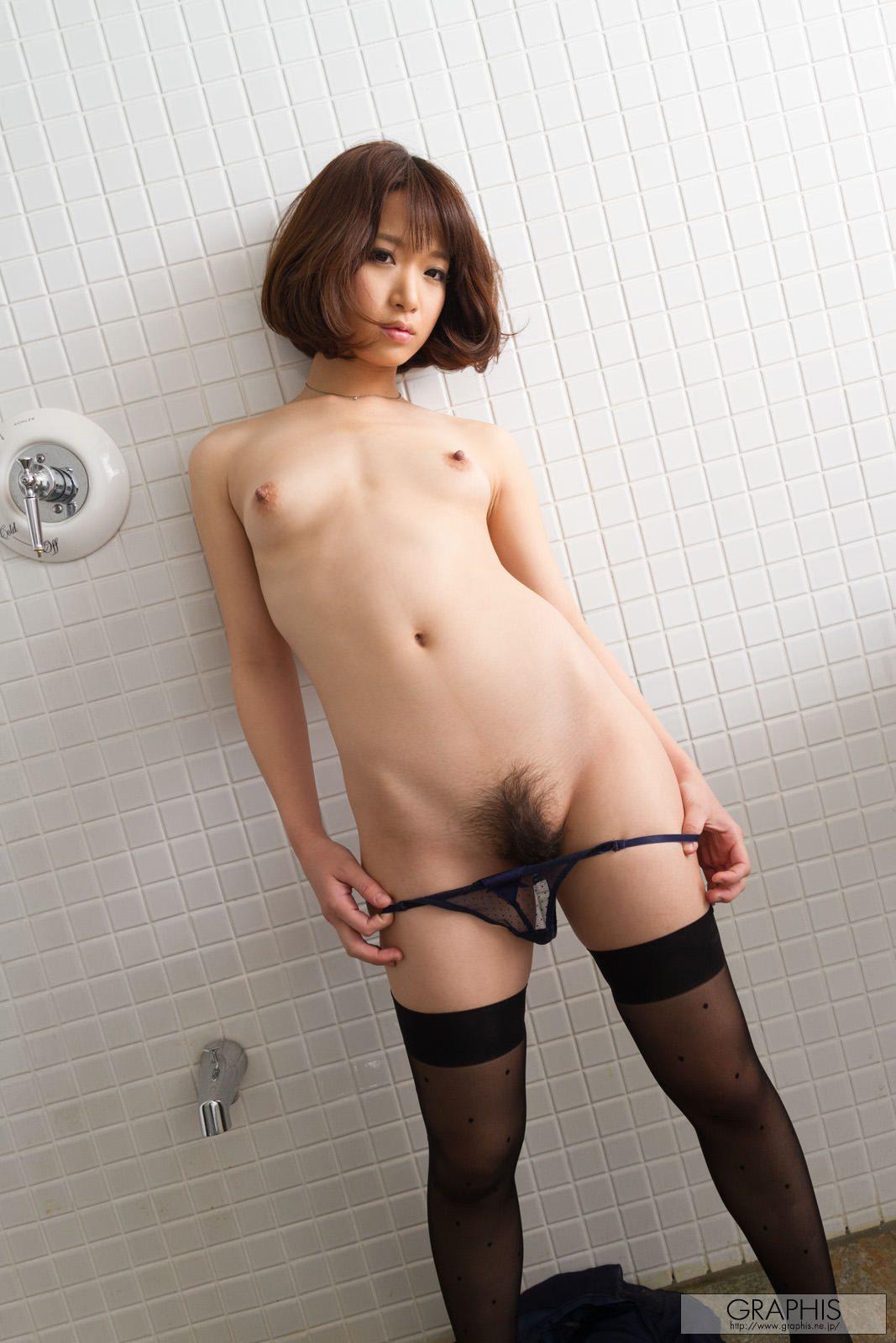 mayu-kamiya-bathroom-black-stockings-asian-naked-graphis-15
