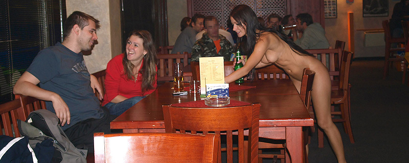 Melisa Mendini naked in a bar