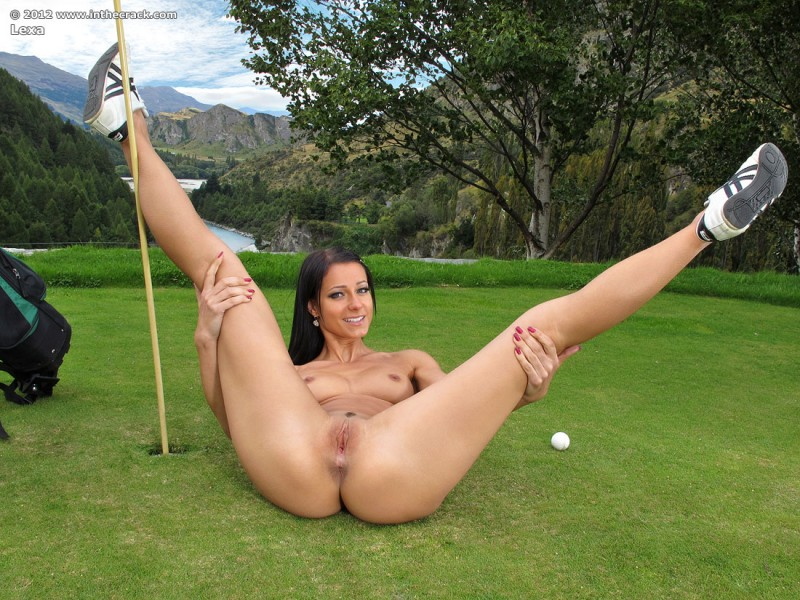 Woman and nude and golf