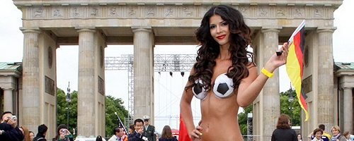 Micaela Schaefer supporting German team on Euro2012