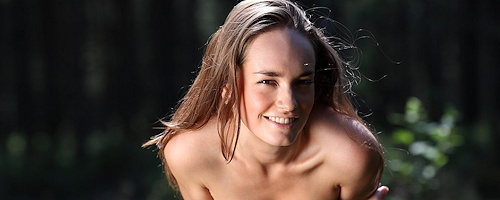 Milena naked in the woods