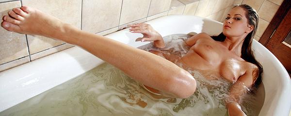 Mira taking a bath