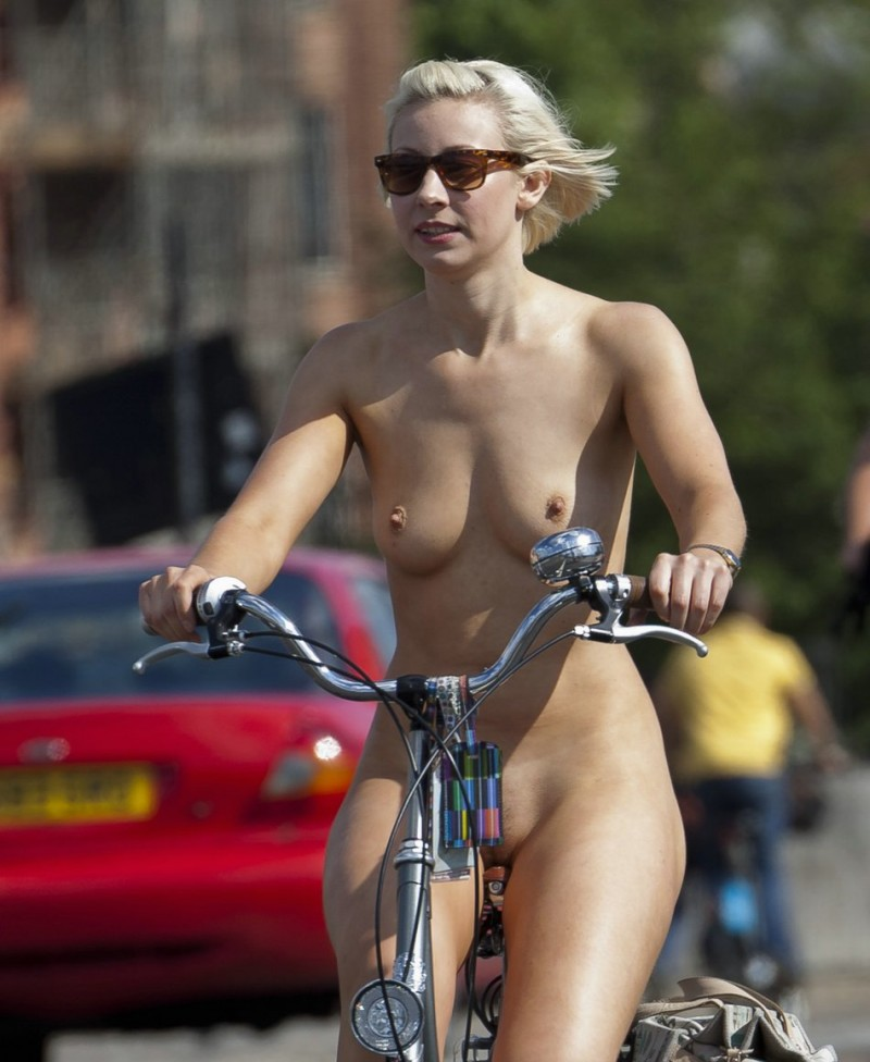 Nude girls at motor cycle are