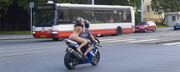 Nude on bike