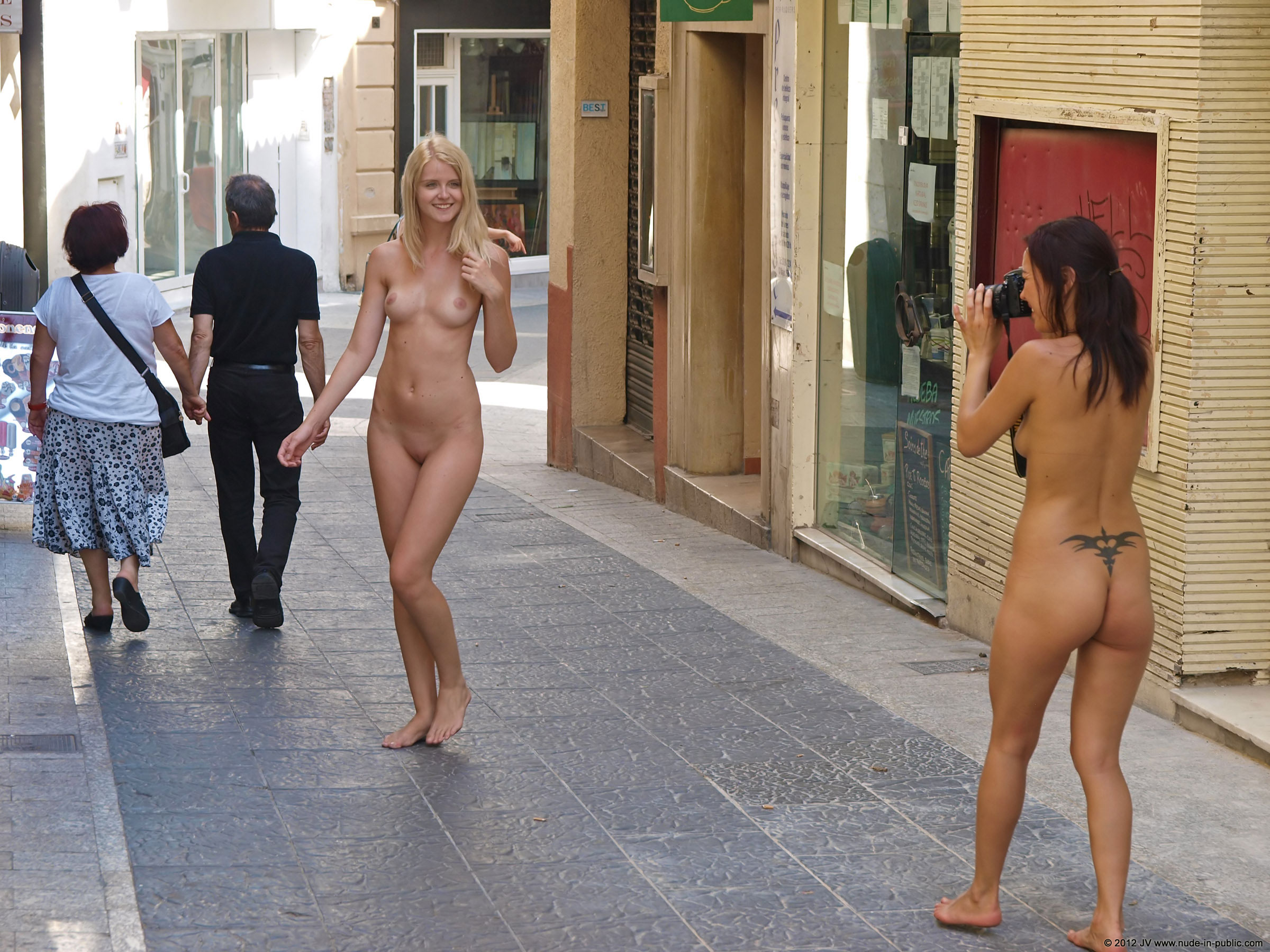 Girls becoming naked in public