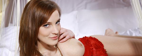 Sandra D in red corset