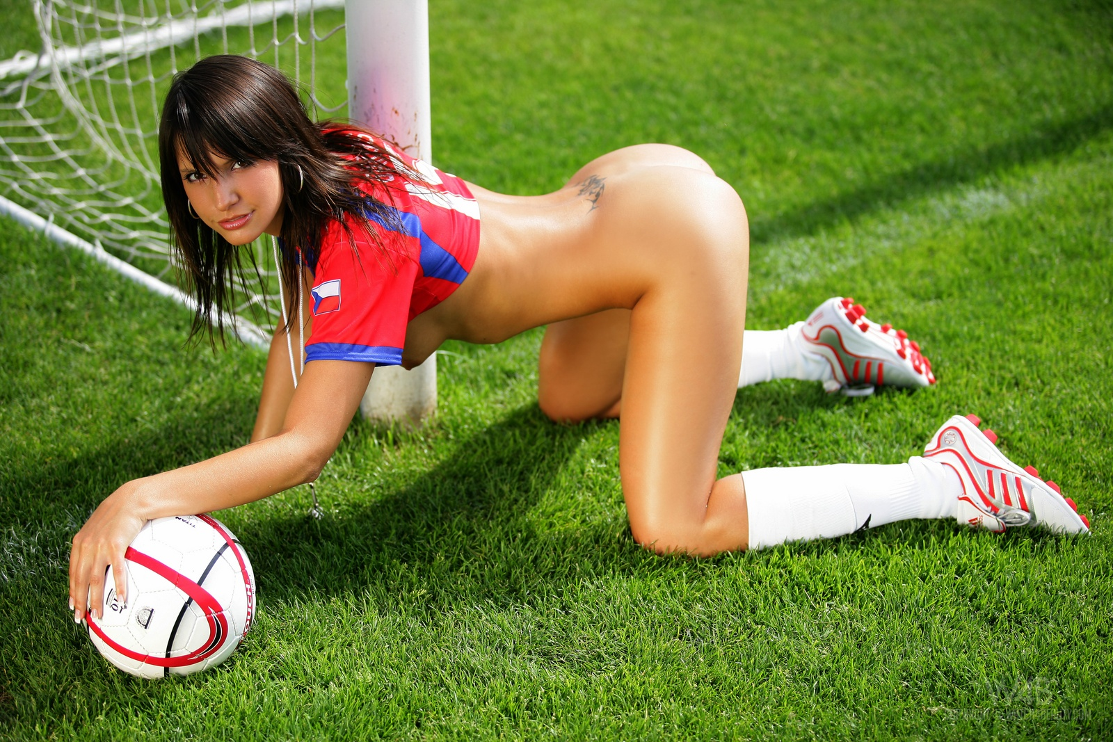 Girl nude on football field — 12