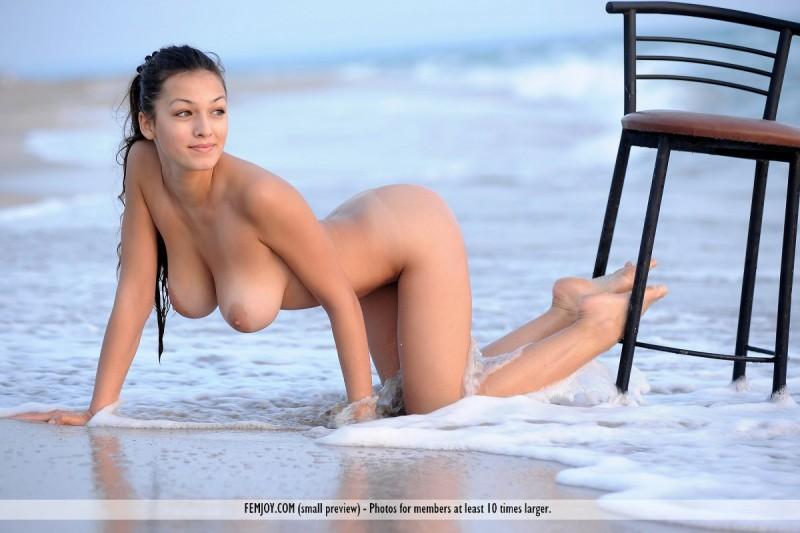 Naked girls on bar stools — 2