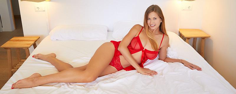 Stella Cardo in red lingerie