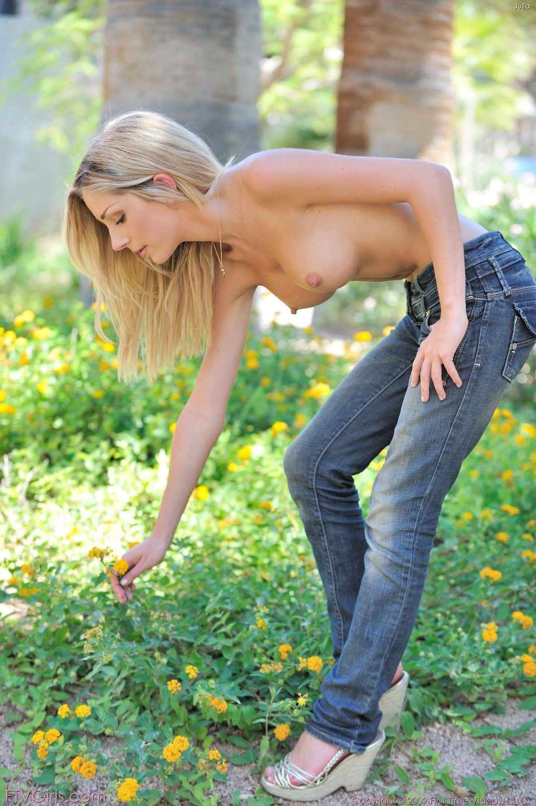 Topless girls in jeans at nature #9
