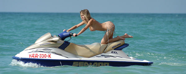 Uliya on the jet ski