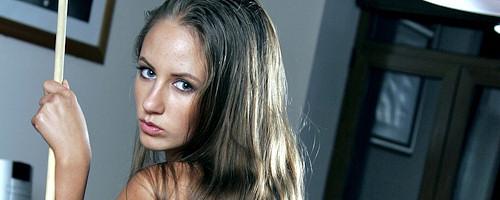 Julia K playing snooker