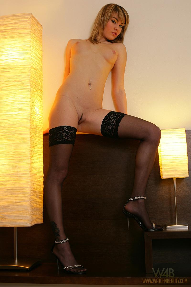 veronika fasterova stockings nighty redbust