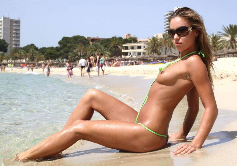 Beach micro nude bikini