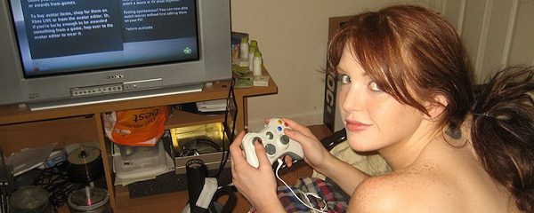 Young Veronica Ricci playing video games nude