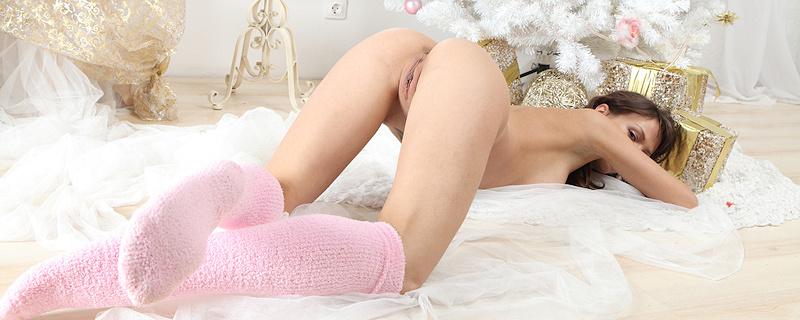 Zhanet in pink terry knee socks