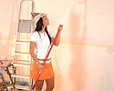 Angelika painting her room