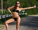 Sweet Lilya hitchhiking