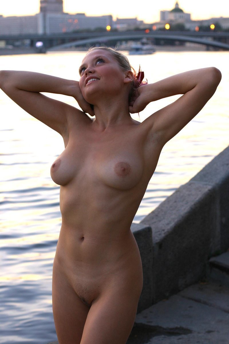 Blond girl by the river
