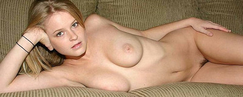 Amateur blonde on the couch