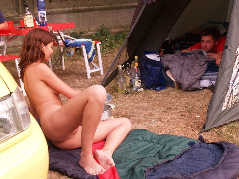 Naked on the campsite