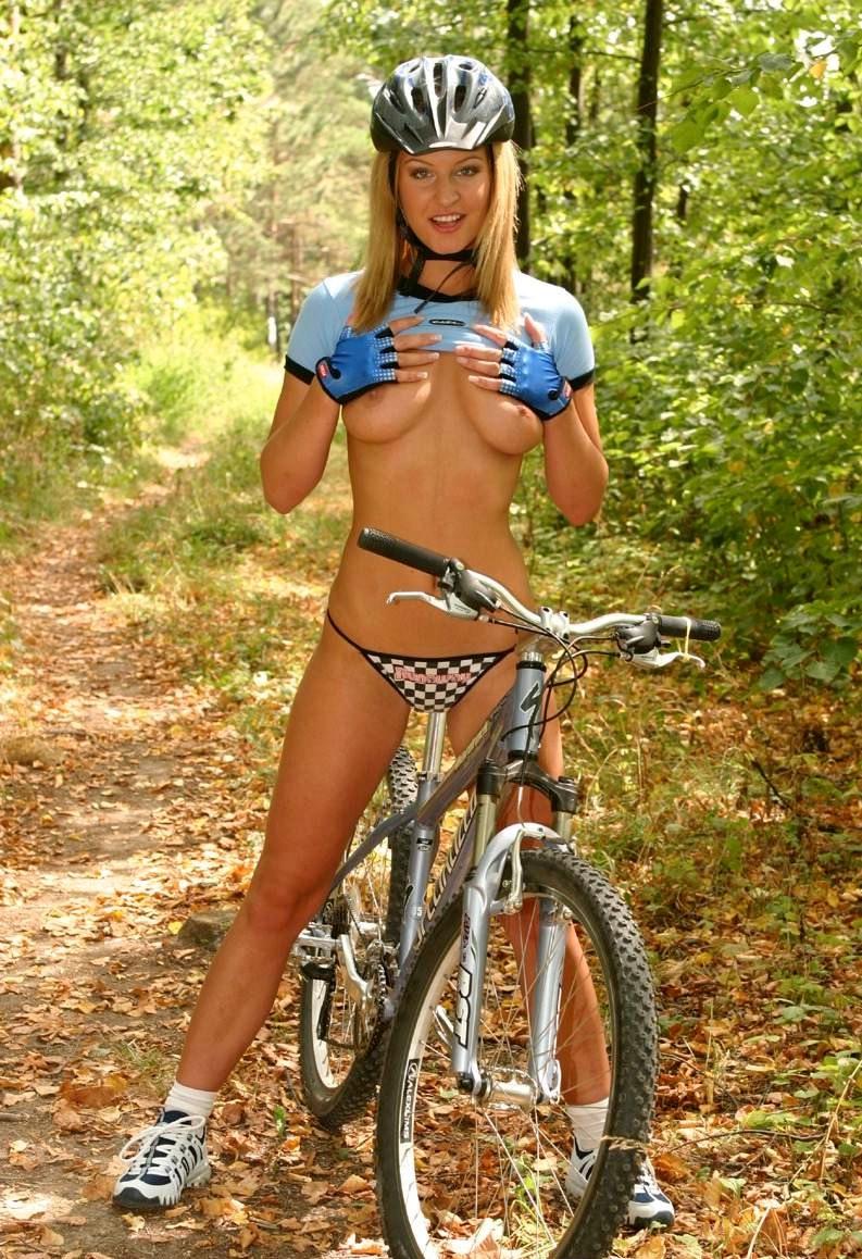 hot blonde girl nude on bmx bike