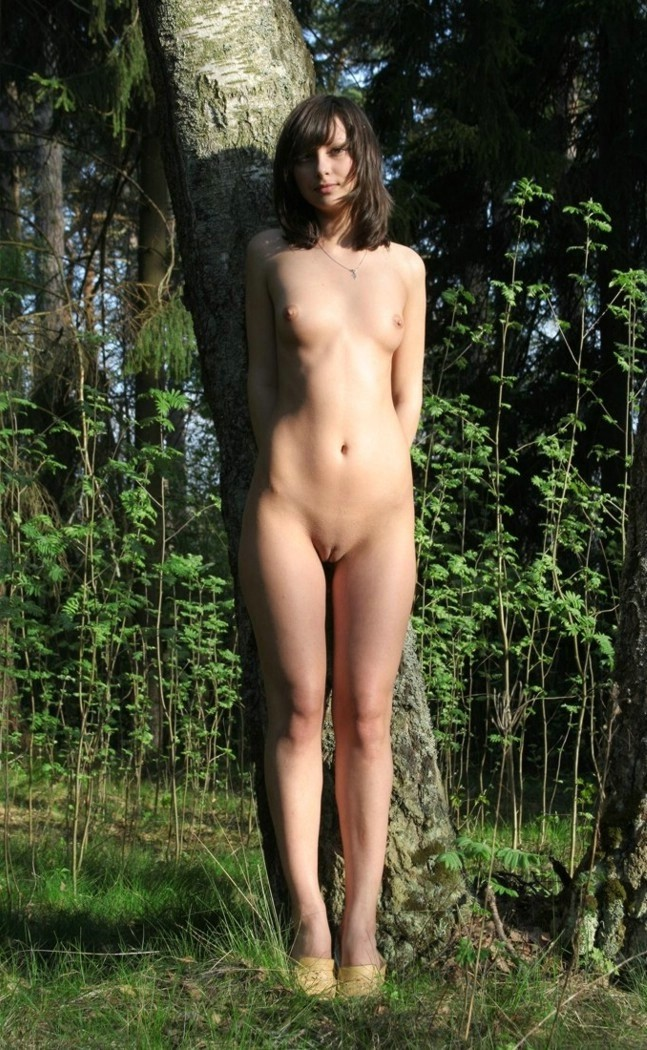 Girl in forest woods fucking