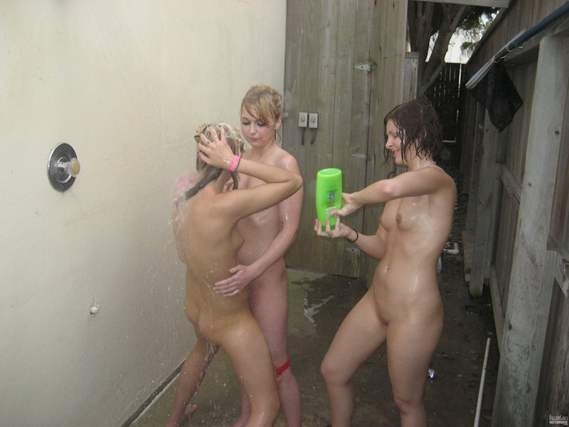 Group shower in the garden